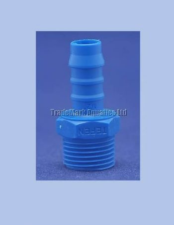 "12mm x 1/2"" BSP Male Barbed Hose Tail (blue nylon)"